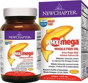New Chapter Wholemega Fish Oil Supplement, 100% Wild Alaskan Salmon Oil with Omega-3 + Vitamin D3 +